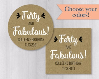 450-CF Forty and Fabulous 40th Birthday Clear Transparent Color Foiled Party Favor Stickers