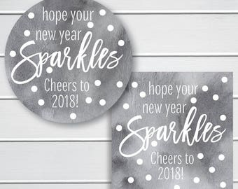 hope your new year sparkles stickers cheers to 2018 labels watercolor background happy new year labels 614 wc