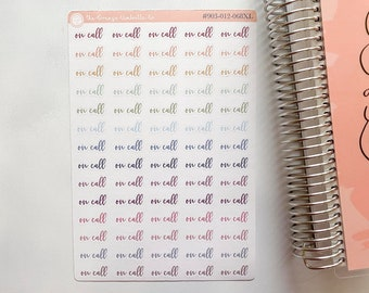 On Call Script Work Planner Stickers Muted Rainbow Nurse Tracking Appointment Planner Stickers ScriptOn Call Labels #903-012-068L-WH