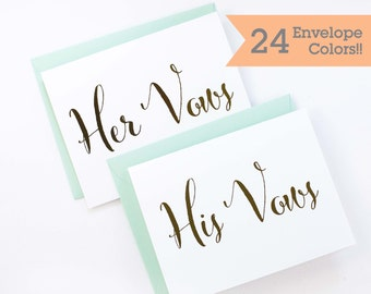 Vow Cards for your Wedding Day WC000-HW-F-V Cards to Hold Your Vows Gold Foil His Vows Her Vows Wedding Cards