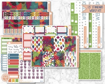 Weekly Kit Planner Stickers - Makse Planner Kit, Color Leaves Weekly Planning Sticker Kit, FC11 (Rainbow Flora 883-001)