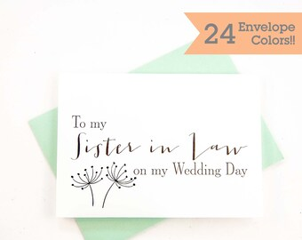 To My Sister In Law, To My Sister on My Wedding Day, Wedding Day Thank you Cards (WC076-HW)