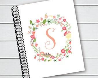 Personalized Notebook, Floral Initial Coil Notebook, Plastic Coil Bound Writing Journal (NB-010-PC)
