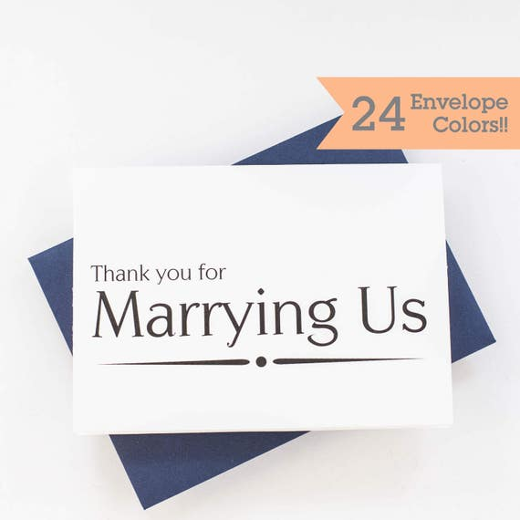 Priest Thank You Card Officiant Thank You Card Minister Thank You Card Wedding Day Cards Thank You Card Wc138 Pr