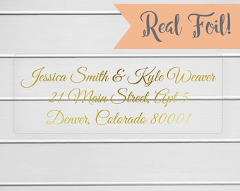 Gold or Color Foil Wedding Invitation Return Address Labels, Clear Transparent Return Address Stickers (#318-CF)