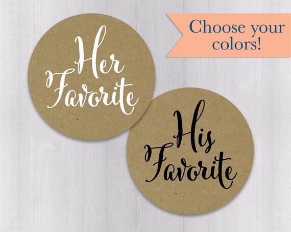 Favorites Wedding Favor Stickers #376-WH Wedding Favor Bag Sticker His Favorite Her Favorite Wedding Stickers