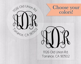 Wedding Invitation Return Address Clear Transparent Label/Sticker, Round Monogram Address Label (#212-C)