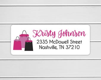 Shopping Themed Return Address Labels, Fashion Return Address Stickers, Fun Address Stickers (#488)