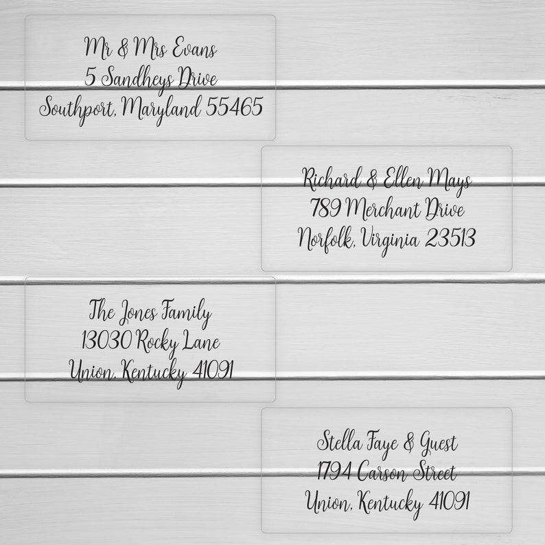 #657-MT-C Clear Transparent Address Stickers Calligraphy Replacement To: Wedding Address labels Custom Wedding Address Labels