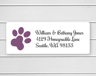 Dog Paw Print Return Address Labels, Doggie Paw Print Return Address Labels, (#351)