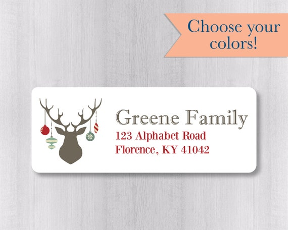 christmas return address labels deer antlers return address etsy