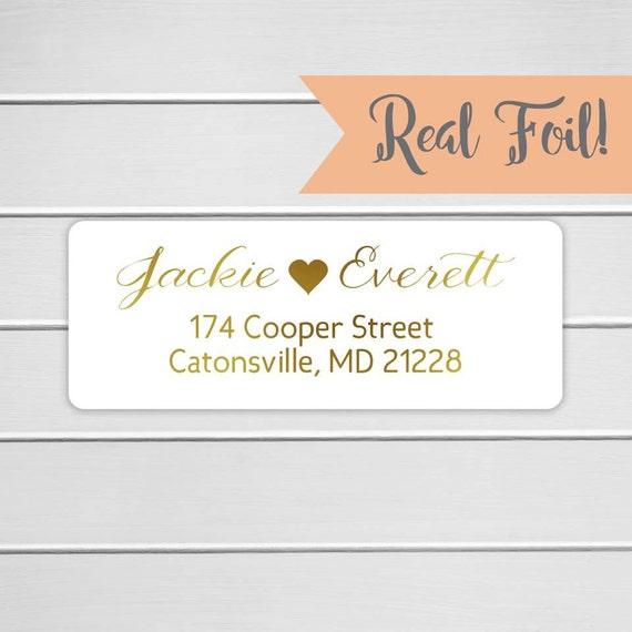 gold or color foil wedding invitation return address labels etsy