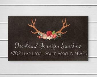 Deer Antler Return Address Labels, Christmas Address Labels, Return Address Stickers (#510-L)