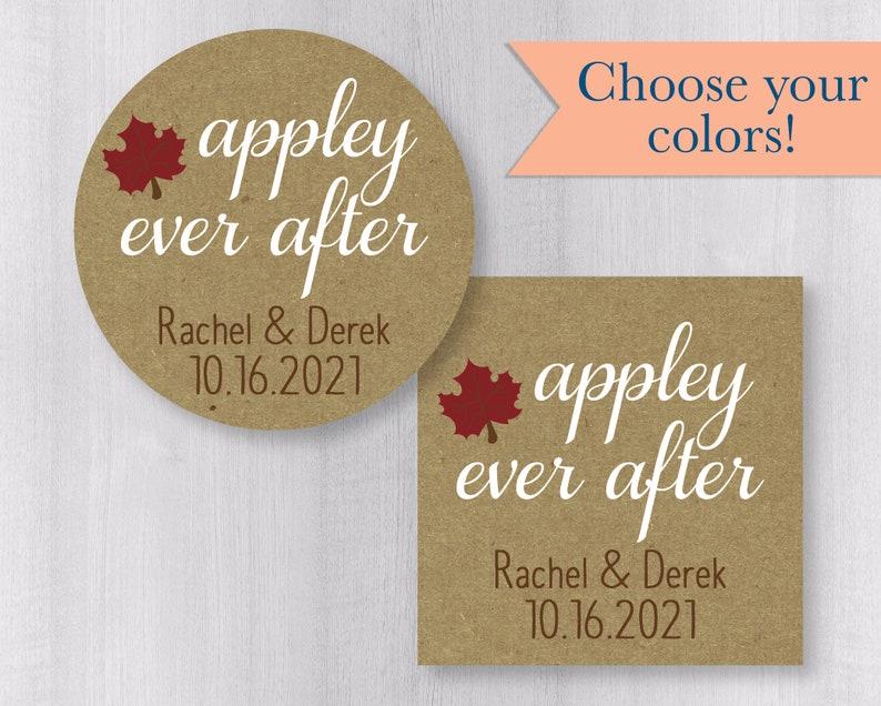 Caramel Apple Leaves Guest Favor Stickers #057-KR Appley Ever After Kraft Brown Wedding Stickers Rustic Autumn Wedding Favor Labels