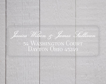 Wedding Return Address Stickers, Clear Return Address Labels, Transparent Formal Address Stickers (#311-C-WT)