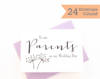 To My Parents On My Wedding Day Cards, Wedding Day Cards, Thank you Card, Printed Cards with Envelopes (WC040-HW)