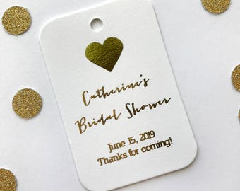 Bridal Shower Favor Tags, Gold Foiled Bridal Shower Favor Tags, Small Bridal Shower Favor Tags (RR-031-V-F)