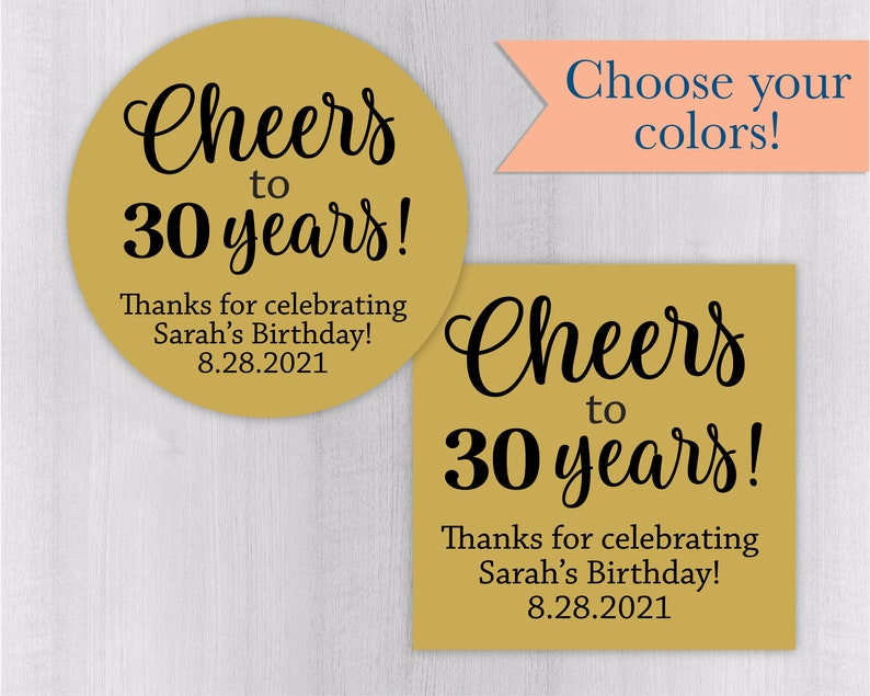 Cheers to 30 Years! 30th Birthday Stickers, Multicolor Glossy Birthday  Party Labels, Alcohol Favor Stickers, Shot Glass Labels (#152-SS)