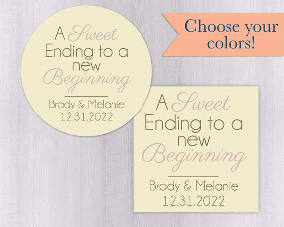 a sweet ending to a new beginning wedding thank you sticker etsy