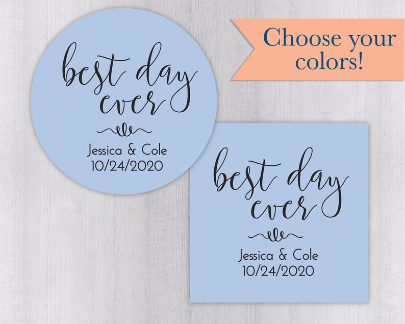 #242-SS Best Day Ever Wedding or Engagement Favor Stickers Wedding Favor Stickers