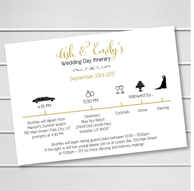 Custom Wedding Day Itinerary The Big Day Itineraries Wedding