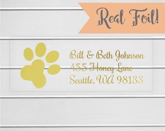 Paw Print Return Address Labels, Gold Foil on Clear Address Stickers, Transparent Return Address Labels (#351-CF)