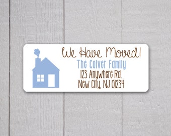 We Have Moved Return Address Labels, Return Address Stickers, Holiday Address Stickers (#302-1-L)