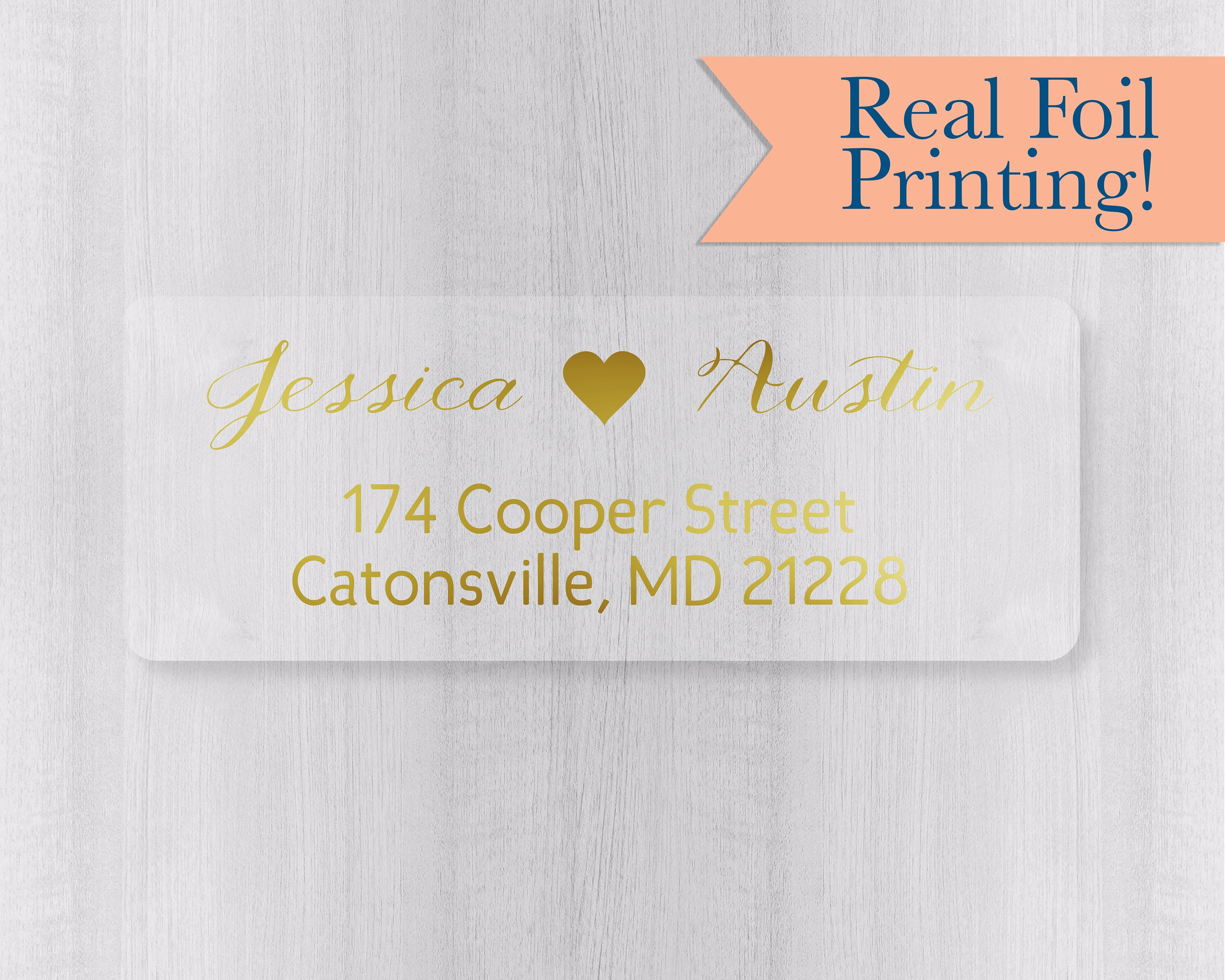 Wedding Invitation Stickers: Gold Or Color Foil Wedding Invitation Return Address
