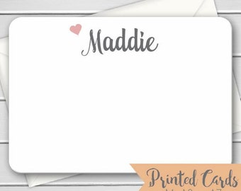 Name Note Cards with Envelopes - 12pk, Personalized Flat Note Cards with Envelopes (NC-015)