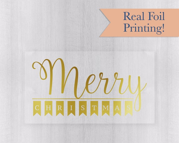 Labels for Cards Envelopes Craft Happy Christmas Stickers Shiny Gold on Clear