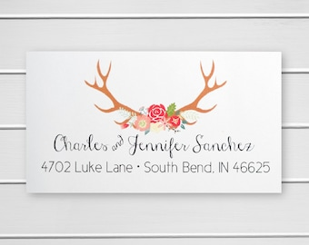 Deer Antler Address Stickers, Return Address Labels, Return Address Stickers (#358-L)