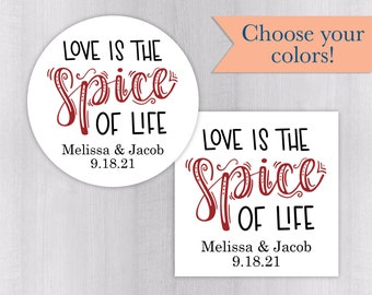 Love Is The Spice Of Life Wedding Stickers, Spices Wedding Favor Stickers, Wedding Stickers, Wedding labels (#069-WH)