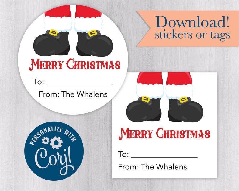 Downloadable Stickers #582-1b-CJ Christmas Santa Gift Labels or Return Address Labels Christmas Trees Editable Christmas Labels