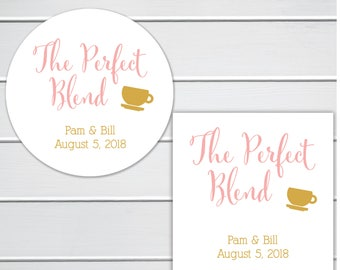 The Perfect Blend, Tea or Coffee Cup Wedding Favor Stickers, Wedding Stickers (#097)