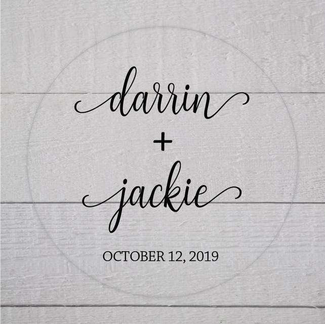 Rustic Wedding Stickers, Clear Transparent Names and Date Wedding Sticker, Wedding Date Stickers, Wedding labels (#612-C)