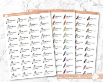 Homework Time Script Icon Planner Stickers, Home Work Time Planner Stickers, Color Print Planning Stickers, F10 (#921-044-001L-WH)