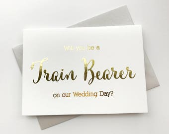 Gold Foiled Wedding Day Card, Will You Be a Train Bearer on our Wedding Day, Silver Foiled Wedding Party Cards (WB028-CN-F)