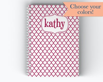 Personalized Notebook, Name Patterned Coil Notebook, Writing Journal (NB-023)
