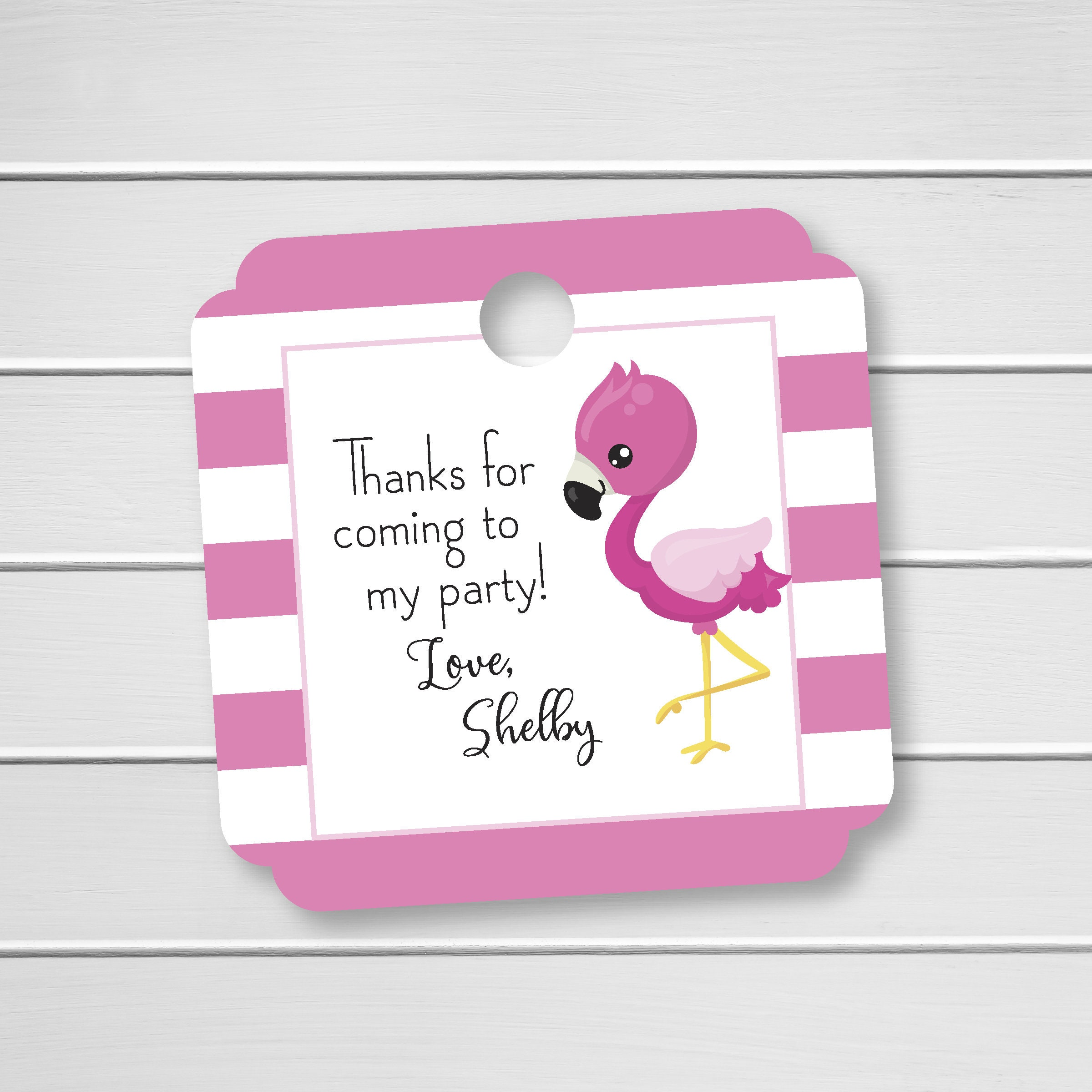 Flamingo Birthday Favor Tags Custom Birthday Favor Tags