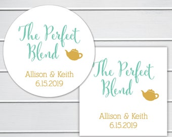 The Perfect Blend, Teapot Wedding Favor Stickers, Drink Table Wedding Stickers (#098)