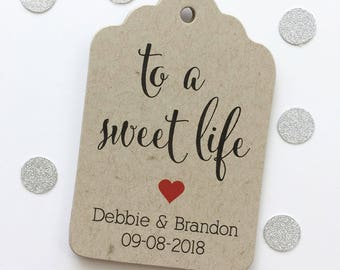 To A Sweet Life Tags, Wedding Favor Tags, Wedding Tags, Personalized Wedding Tag (ST-221-KR)