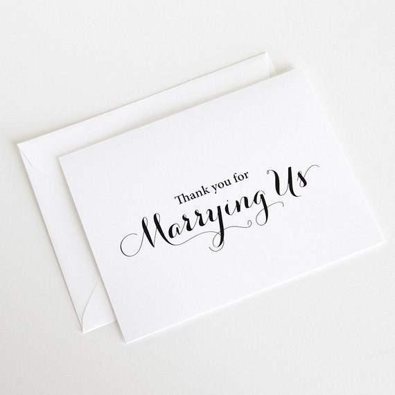 Priest Thank You Card Officiant Thank You For Marrying Us Card Minister Thank You Card Wedding Day Cards Thank You Card Wc138 Ca