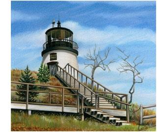 OWLS HEAD LIGHT-Signed Limited Edition Giclee (500) Cert of Authenticity-Owls Head Maine
