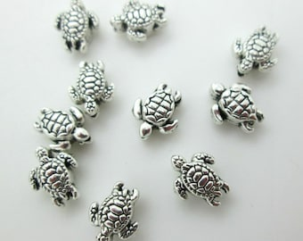 12pcs Antique silver little turtle charm pendants F0087