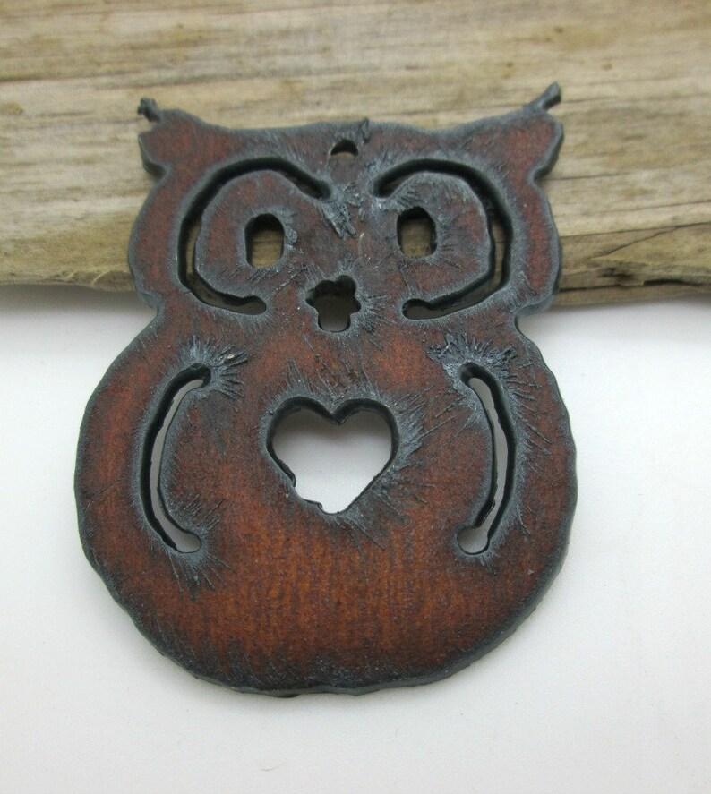 1 Rustic Owl Pendant 55x35 Handmade Rusty Iron Owl