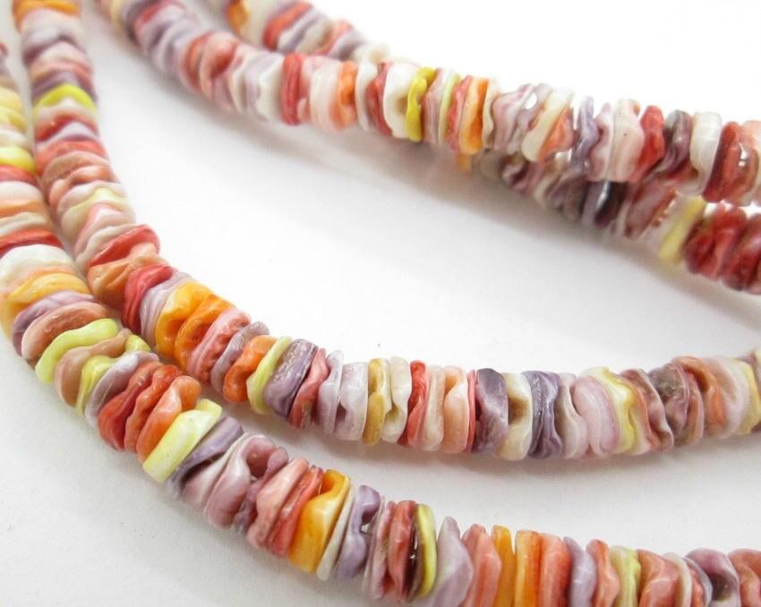 Multicolor Shell Heishi Bead Shell Wavy Disc Bead Pectin