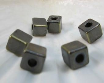 Large Brushed Bronze 8mm Cube Bead