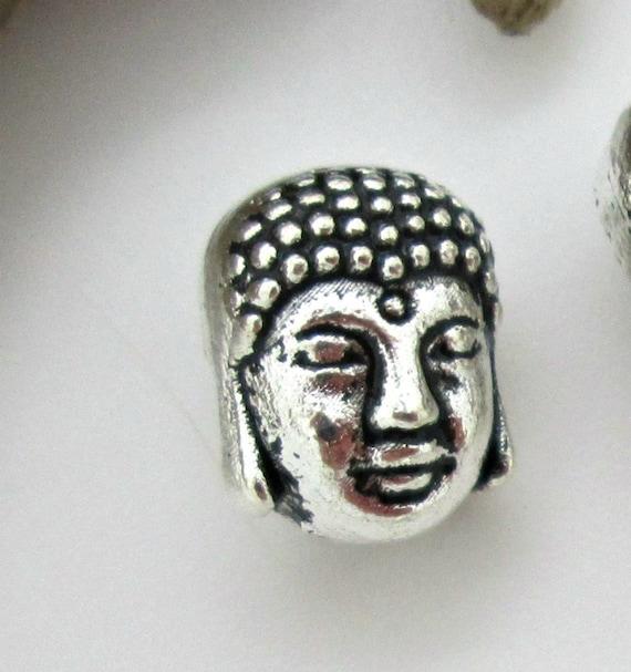 10 TIBETAN ANTIQUE SILVER STYLE BUDDHA HEAD SPACER BEADS-YOGA-MEDITATION