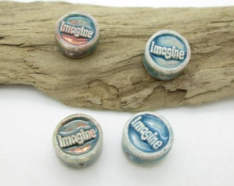 Ceramic Raku Affirmation Bead, Ceramic Imagine Bead, Ceramic Word Bead, 13mm (4)