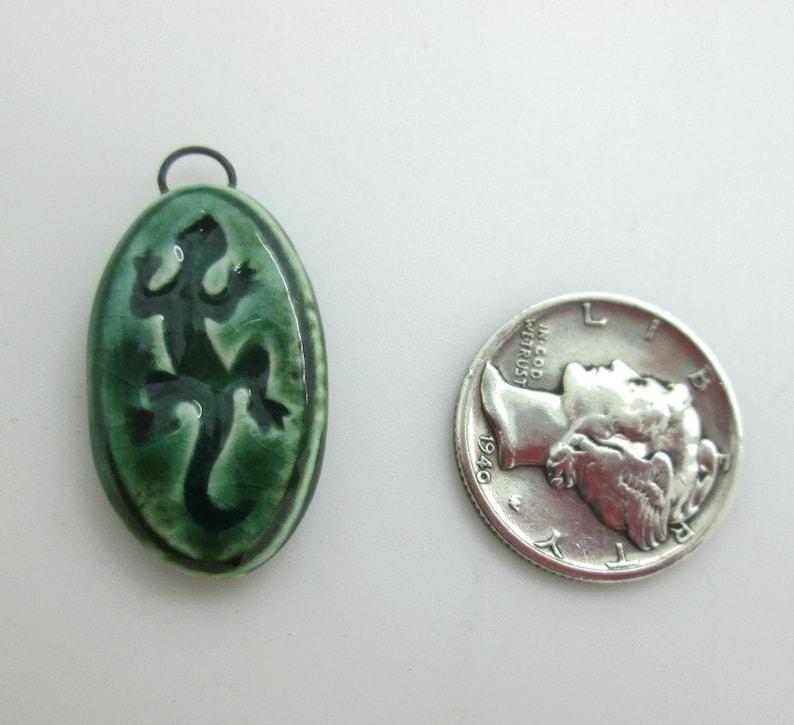 Green Ceramic Gecko Pendant 25mm Southwestern Charm Lizard Charm 1